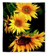 Natures Sunflower Bouquet Fleece Blanket