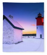 Nauset Lighthouse Sunset,  First Snow Fleece Blanket
