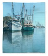 Nautical Aquas At The Harbor Fleece Blanket
