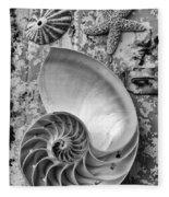 Nautilus Shell With Starfish Fleece Blanket