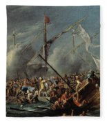 Naval Battle Between Spanish And Turks Fleece Blanket
