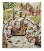 Naval Battle Between The Portuguese And French In The Seas Off The Potiguaran Territories Fleece Blanket