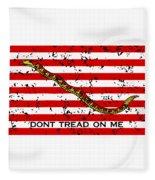 Navy Jack Flag - Don't Tread On Me Fleece Blanket