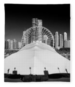 Navy Pier Wheel Fleece Blanket
