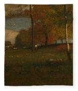 Near The Village, October Fleece Blanket
