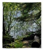 Near Water Of The Forest Lake. Fleece Blanket