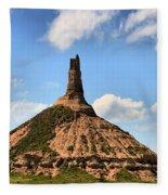 Nebraska Chimney Rock Panorama Fleece Blanket