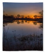 Nebraska Sunset Fleece Blanket