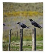 Neighborhood Watch Crows Fleece Blanket