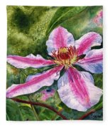 Nelly Moser Clematis Fleece Blanket