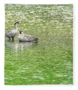 Nene On Green Pond Fleece Blanket