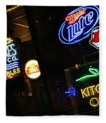 Neon Bar Signs Fleece Blanket