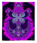Neon Butterflies And Rainbow Fractal 137 Fleece Blanket