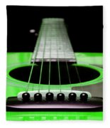 Neon Green Guitar 18 Fleece Blanket