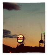 Neon In Downtown Roanoke Fleece Blanket