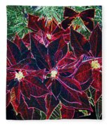 Neon Poinsettias Fleece Blanket