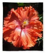 Neon-red Hibiscus 6-17 Fleece Blanket