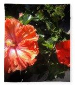Neon-red Hibiscus Flowers 6-17 Fleece Blanket