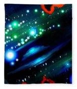 Neon Stars, Green Galaxy And Ufo Fleece Blanket