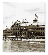 Neptune Casino And Onion-domed Bandstand, Santa Cruz Beach Circa 1904 Fleece Blanket