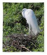 Nesting Great Egret With Egg Fleece Blanket