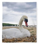 Nesting Mute Swan At Abbotsbury Fleece Blanket