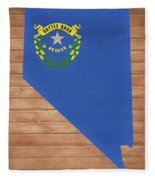 Nevada Rustic Map On Wood Fleece Blanket