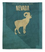 Nevada State Facts Minimalist Movie Poster Art Fleece Blanket