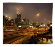 Never Sleeping Atlanta In Motion Midtown Light Trails Art Fleece Blanket