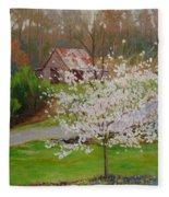 New Blossoms Old Barn Fleece Blanket