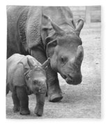 New Born Rhino And Mom Fleece Blanket