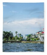 New Canal Lighthouse And Lakefront - Nola Fleece Blanket