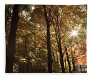 New England Autumn Forest Fleece Blanket