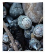 New England Beach Shells Fleece Blanket
