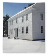 New England Colonial Home In Winter Fleece Blanket