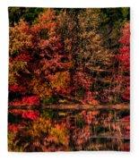 New England Fall Foliage Reflection Fleece Blanket