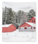 New England Farm With Red Barns In Winter Fleece Blanket