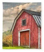 New England Red Barn Pencil Fleece Blanket