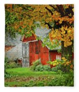 New England Rustic - New England Fall Landscape Red Barn Fleece Blanket