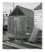 New England Wharf Scene In Black And White Fleece Blanket