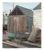 New England Wharf Scene Fleece Blanket