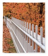 New England White Picket Fence With Fall Foliage Fleece Blanket