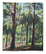 New Forest Trees With Shadows Fleece Blanket