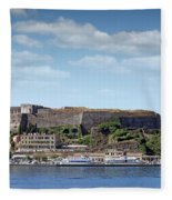 new fortress and port Corfu town Greece Fleece Blanket