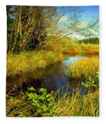 New Growth At The Pond Fleece Blanket
