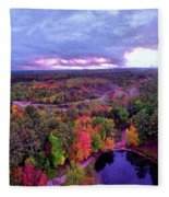 New Hampshire Fall Sunset Over Pond Fleece Blanket