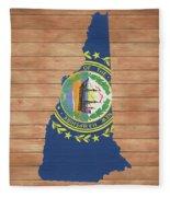 New Hampshire Rustic Map On Wood Fleece Blanket