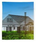 New House Wireframe Project On Green Field Fleece Blanket