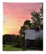 New Jersey Barn Sunset Fleece Blanket