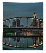 New Main Street Bridge At Dusk - Columbus, Ohio Fleece Blanket